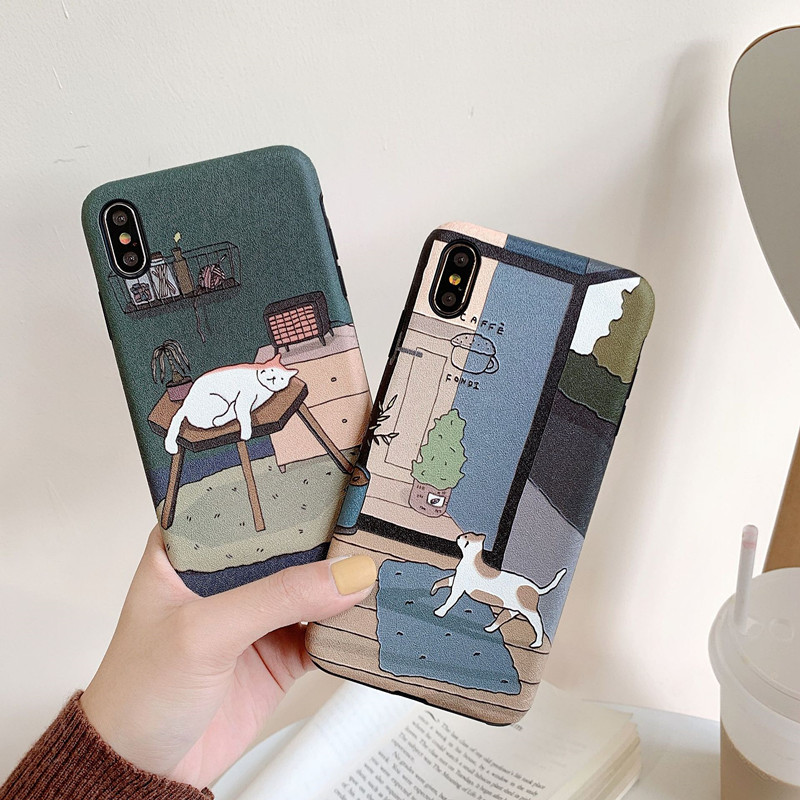 Japanischen nette cartoon illustration Telefon fall silikon abdeckung für coque <font><b>iPhone</b></font> 7 7Plus 11 Pro XS MAX Fall 8 <font><b>6</b></font> 6s <font><b>Plus</b></font> X XR fällen image