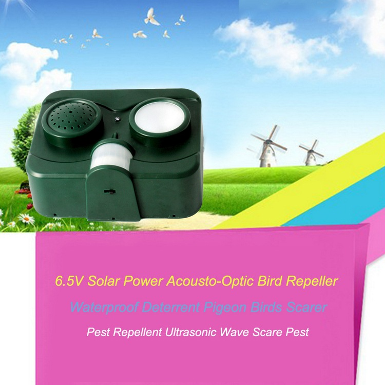 6.5V Solar Power Acousto-Optic Bird Repeller Waterproof Deterrent Pigeon Birds Scarer Pest Repellent Ultrasonic Wave Scare Pest