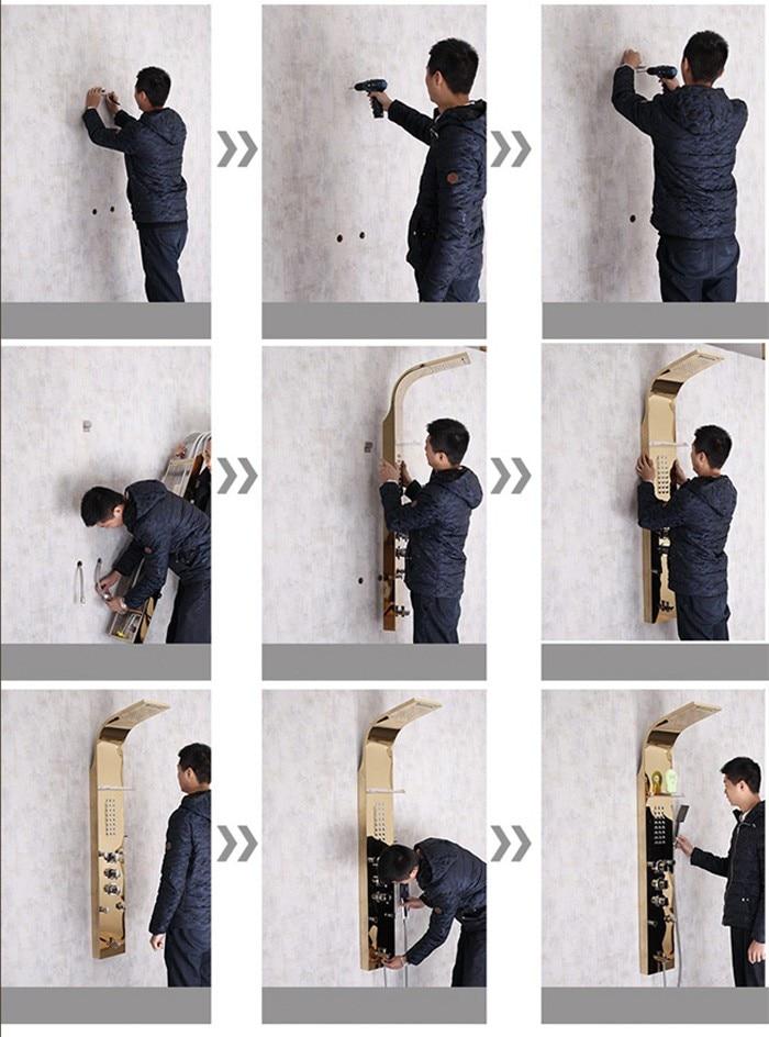 He5b38208ee904f8e9f13c10044653ce8K Black LED Light Shower Faucet Bathroom SPA Massage Jet Shower Column System Waterfall Rain Shower Panel Bidet Sprayer Tap