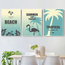 Tropical Beach Coconut Tree Flamingo Wall Art Canvas Painting Nordic Posters And Prints Pictures For Living Room Home Decor