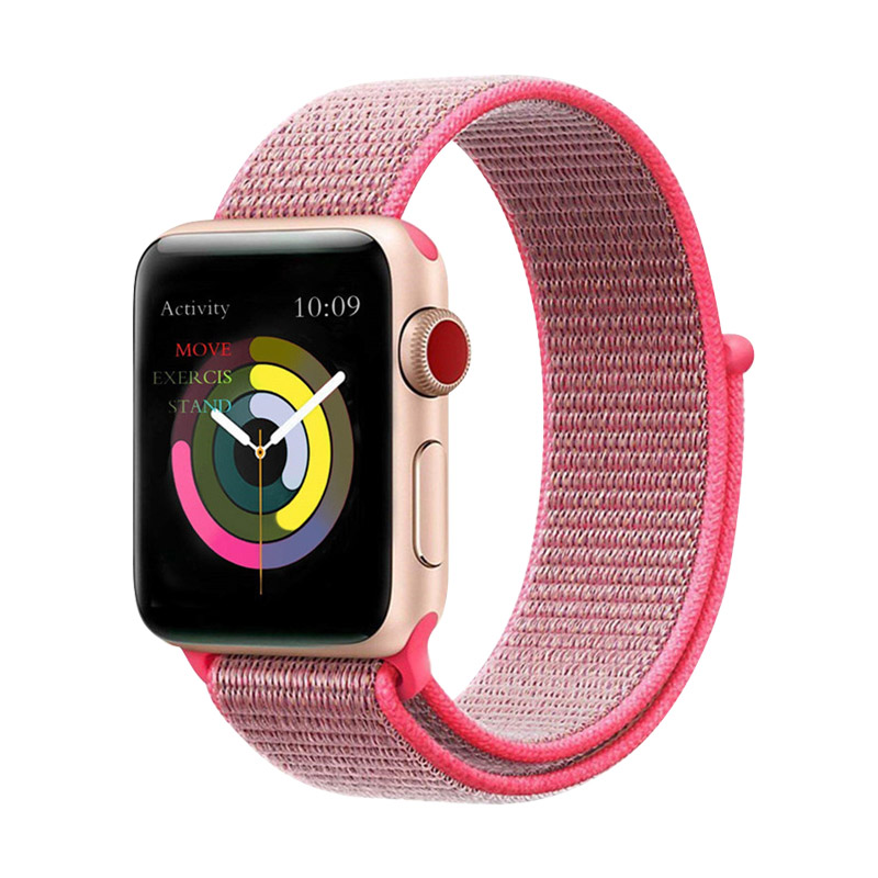 Sport Loop Nylon Band 40mm 44mm For Iphone Watch 4 /5 Hot Pink Bracelet 38mm 42mm For Apple Watch 1/2/3