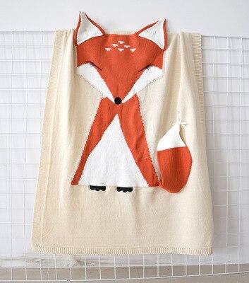 Кондиционер одеяло кролик лиса вязаный ребенок мультфильм животных одеяло диван коляска Чехлы для детей новорожденных постельные принадлежности пеленать decke - Цвет: beige fox