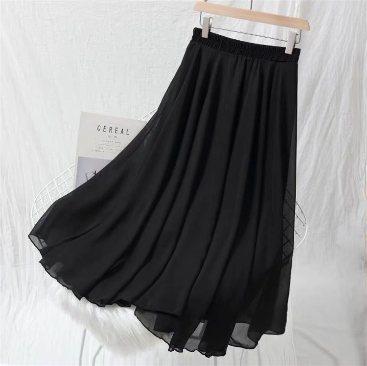 Spring Autumn Fashion Women's High Waist Pleated Skirt Plus Size Lady Black Pink Red Yellow Long Chiffon Maxi Skirts M-6XL 7XL