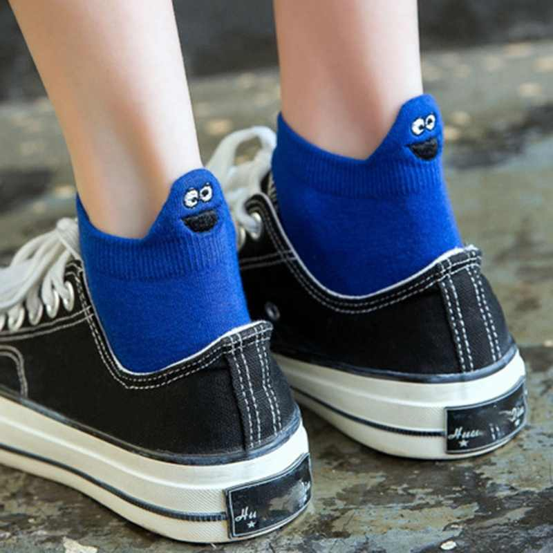 New Women Short Sock Funny Emoji Tide Ins Shallow Mouth Cute Cartoon Heel Embroidery Breathable Girls Socks