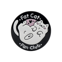 Fat Cat Fan Club Enamel Pin White Black Round Badge Brooches Kawaii Animal Jewelry Brooch for Lover Mom Gift jewelry