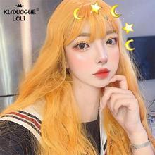 Women 65cm Lemon Yellow Synthetic Long Wavy Wig Bob Bangs Costume Party Lolita Cosplay Full Curly Hair High Temperature Fiber