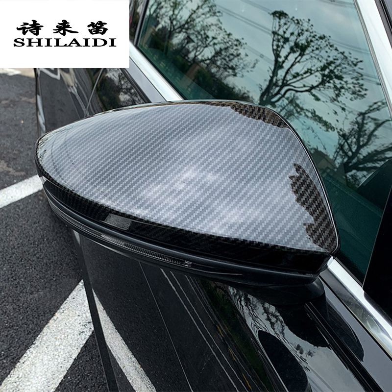Car Styling Carbon Fiber For Audi A6 C8 2019 Rearview Mirror Frame Door Mirror Decoration Covers Stickers Trim Auto Accessories
