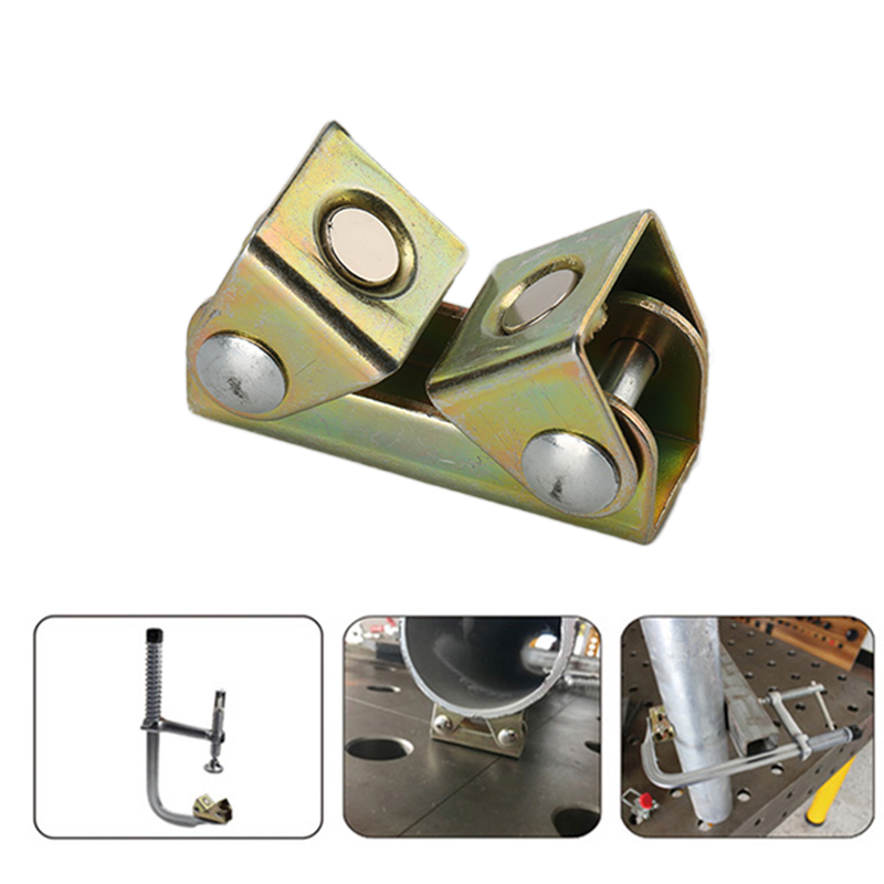 Stainless Steel Magnetic Welding Clamps V-shaped Magnet Welding Holder Welding Fixture Adjustable Magnetic V-Pads Hand Tool 1PC