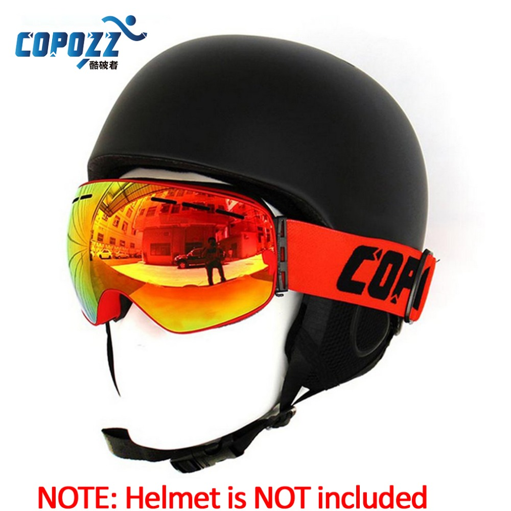 COPOZZ Spherical Surface Skiing Goggles Double Layers UV400 Anti-Fog Mask Glasses Professional Men Women Snowboard Goggles
