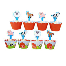 24pcs/set Cartoon Farm Animal Cake Decorations Kids Favors Cupcake Wrappers Toppers Wedding Birthday Party Supplies Baby Shower(China)