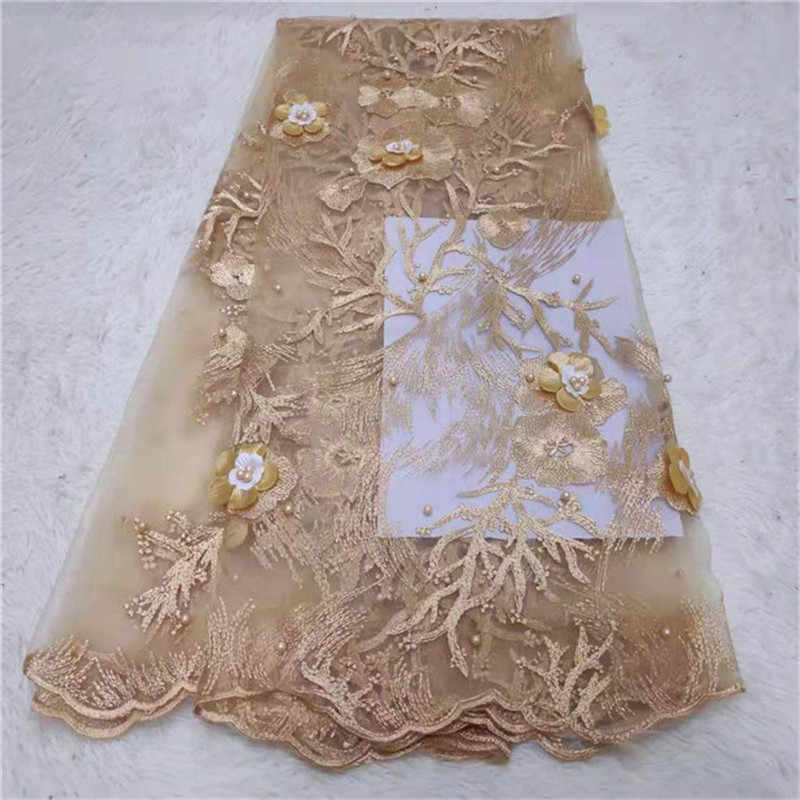 3d flowers Fashion African Lace Fabric High Quality gold Lace Nigerian Lace Fabric 2019 High Quality Lace With Beaded 5yards