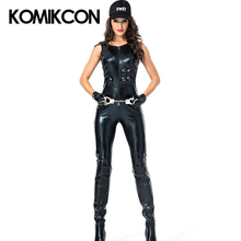Sexy Female Cop Police Officer Suit Black PU Sleeveless Policewomen Uniform Halloween Party Cosplay Costume For Women