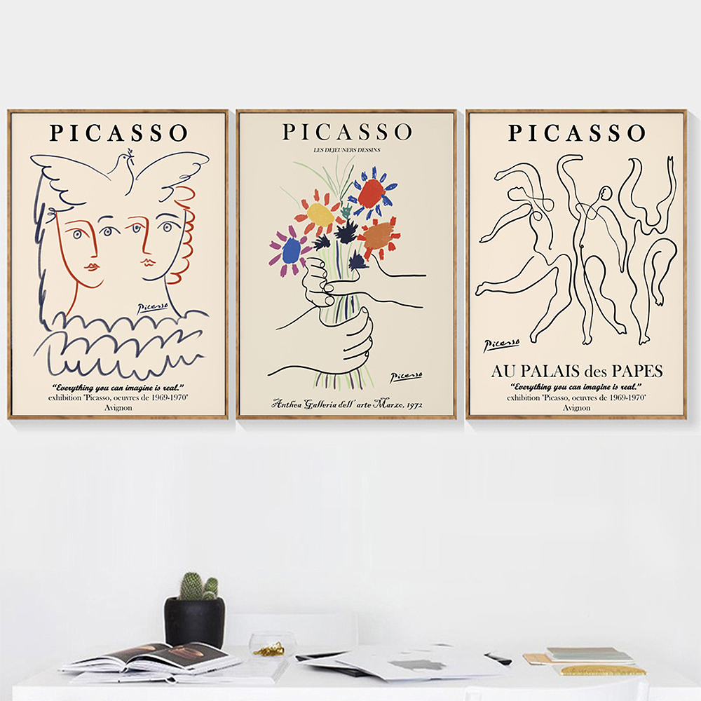 Nordic Picasso Matisse Posters Prints Canvas Painting Abstract Flower Girl Body Face Wall Art Pictures Livingroom Unique Decor