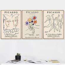 Постеры Пикассо матиссе в скандинавском стиле, Картина на холсте, абстрактный цветок, девушка, тело, лицо, настенные картины, гостиная, уника...