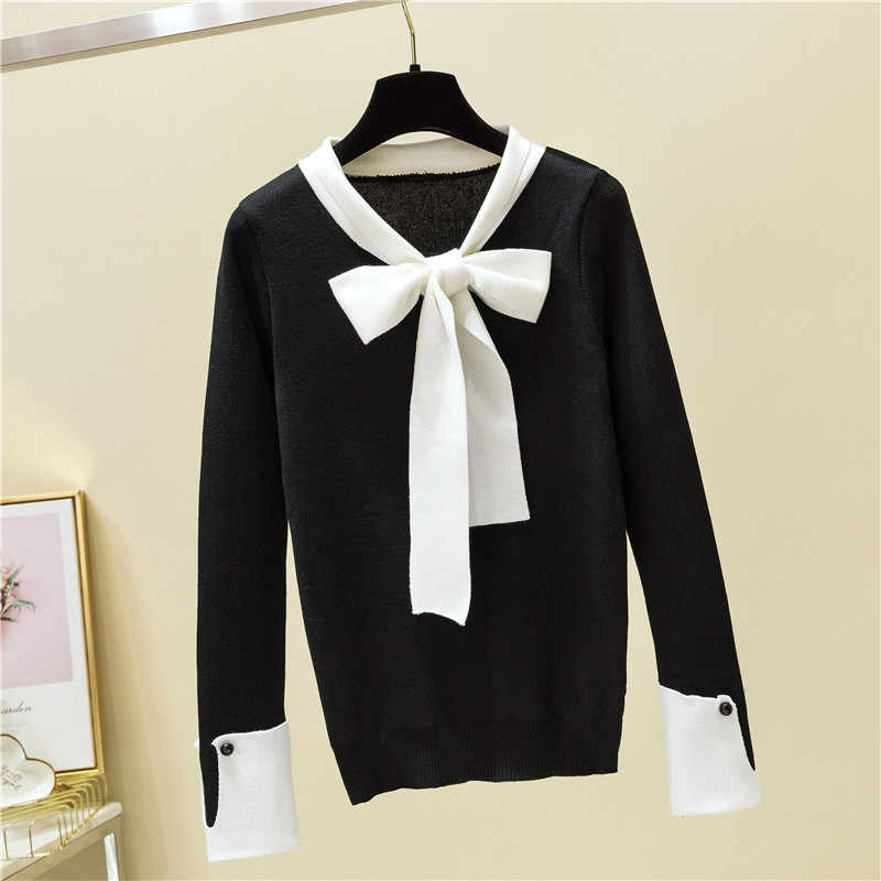 매듭 장식 bowtie 여성 짧은 스타일 슬림 스웨터 니트 귀여운 나비 칼라 탑 레이디 사무복