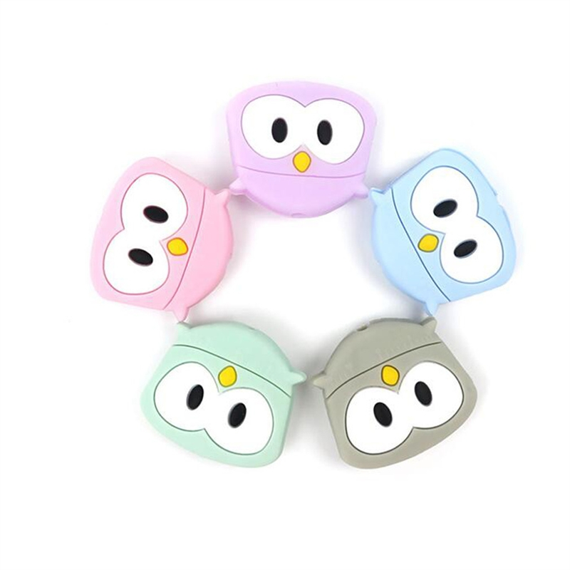 Baby Silicone Teether  Cute Mini Owl Silicone Beads BPA Free Food Grade Rodents DIY Baby Teething Toys