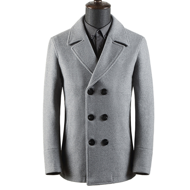 Winter Double Breasted Casual Wear Grey Woolen Coat Long Sleeve Thick Wool Windbreaker Men Blend Coat Male Plus Size Overcoat