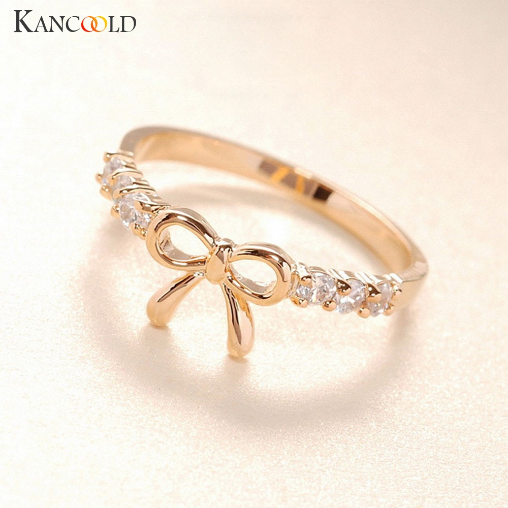 New Arrival Flawless Rings Jewelry Korean Crystal Bow Ring Butterfly Shape Jewelries Rings For Women Ring Holder