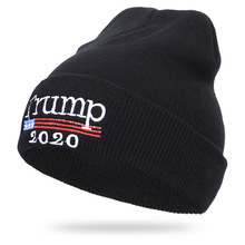 Autumn and Winter 2019 New Trump Embroidery 2020TRUMP Knitted Cap Warm Leisure Wool Cap new explosive warm mink wool ball cap autumn and winter wool cap 100 sets of simple warm knitted headgear cap