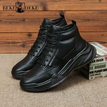 England Style Genuine Leather Ankle Boots Men Winter Warm Casual Shoes