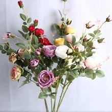 Букет из 6 искусственных цветов 93 см пионы Чайные розы искусственные