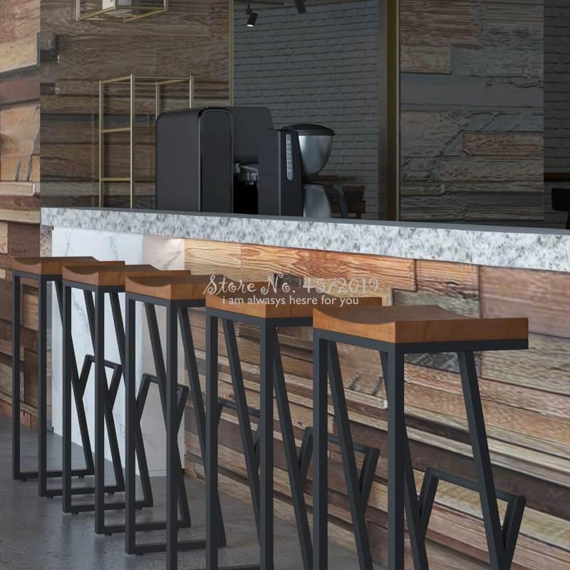 Solid Wood Bar Stool Retro Bar Chair Wrought Iron Bar Stool Creative High Stool Leisure Bar Chair Front Coffee Chair