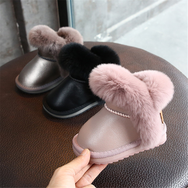 2019 Winter Girls Boots Leather Toddler Children Snow Boots Waterproof Warm Plush Princess Kids Boots Size 21-30