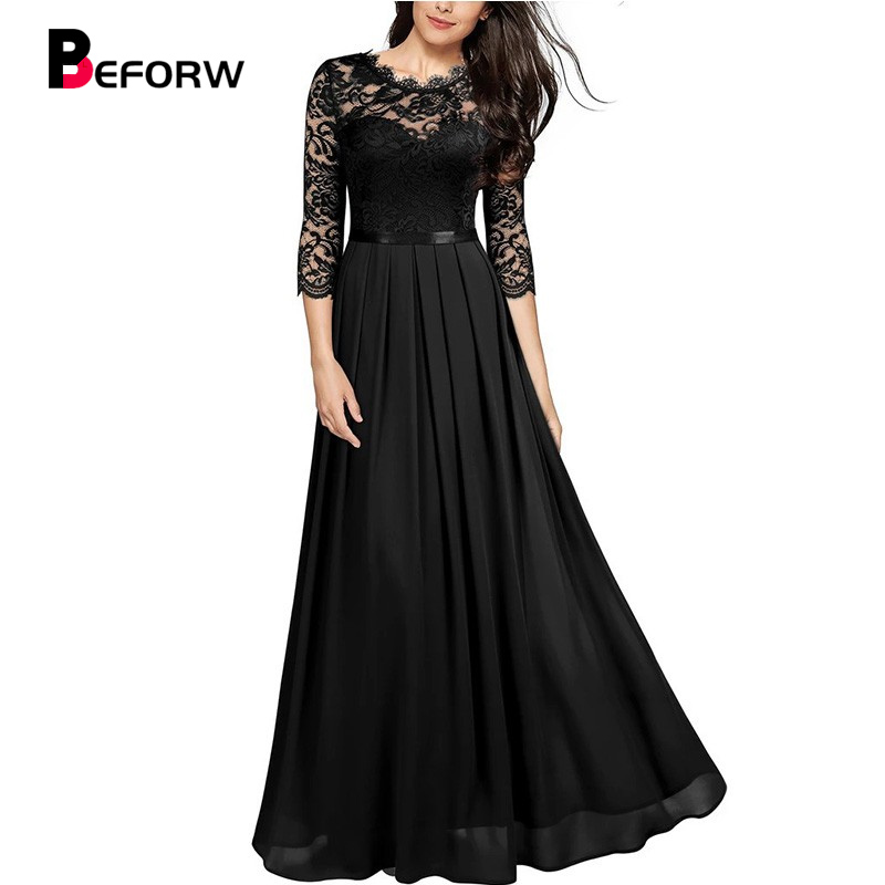 BEFORW 2020 Vintage Sexy Lace Women Party Long Dress Elegant Embroidered Hollow Out Chiffon Maxi Dresses Lady Chic Dress