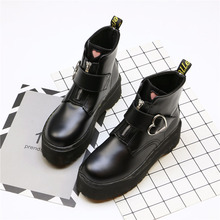 Women Boots Motorcycle-Boots Wedge Spring Thick-Bottom Casual Fashion Wild FD-07 Round-Head