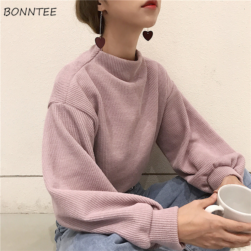 Hoodies Women Solid Ladies Elegant Turtleneck Puff Sleeve Simple All-match Korean Style Kawaii Sweatshirts Womens Trendy Soft