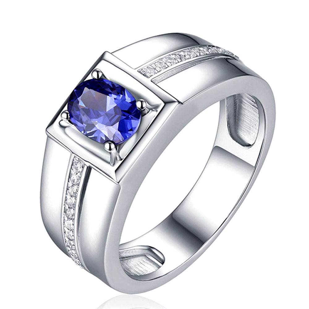 Sapphire gemstones zircon diamonds Rings for men white gold silver color anillos wedding ring jewelry bague homme accessory gift