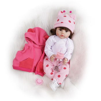 55cm Girls Pink Cute Dolls Lifelike Reborn Toys For Boy Kids Birthday Gifts High Quality Handmade Curly Hair Doll with Deer Toy 15inch lifelike reborn baby dolls toys handmade silicone vinyl pretend play toy doll for girls kids children birthday gifts 38cm