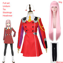 Anime 02 vestidos querida no franxx zero dois cosplay traje 02 cosplay peruca código: 002 headwear acessórios presente do dia das bruxas