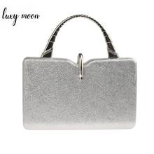 Bolso de mano plateado de piel sintética para mujer, pochette de diseñador de lujo, para boda, elegante, ZD1358