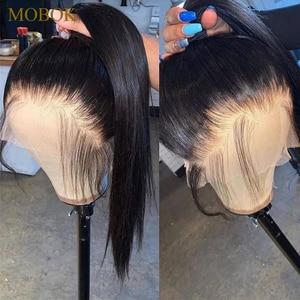 Image 2 - MOBOK Brezilyalı 6*6 Dantel Kapatma Düz Bebek Saç Ile Doğal Renk Remy Saç Koyu Kahverengi İsviçre Dantel 130% yoğunluklu