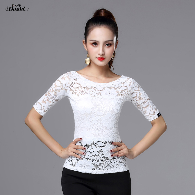 Dance Latin Dance Tops For Women's Girls Vogue Adult White Black Half Sleeve Boat Neck Lace Opaque Rumba Chacha Waltz Practice