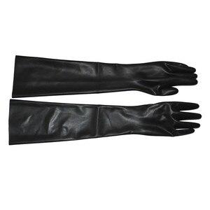 Image 2 - Heißer Handgelenk nahtlose schwarz latex oper lange latex handschuhe fetisch latex handschuhe