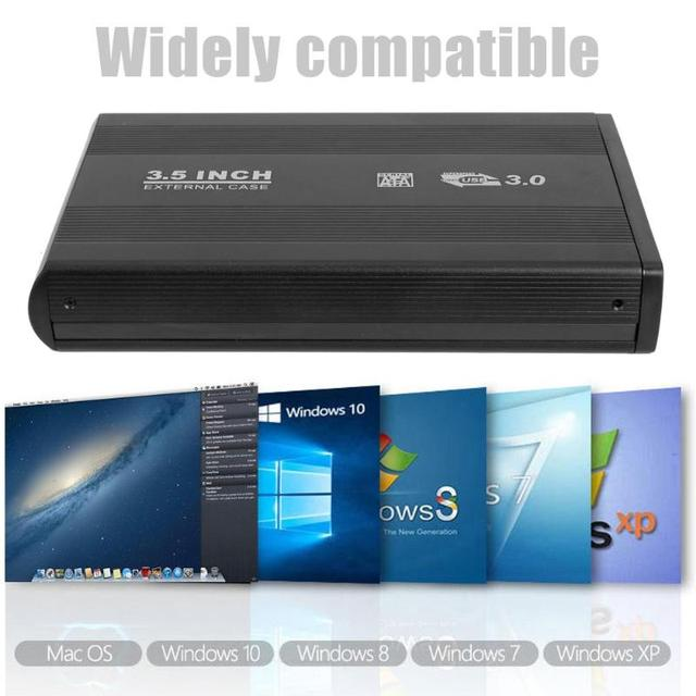 HDD Case New 3.5 inch SATA to USB 3.0 Hard Disk Case 6Gbps SATA hard drive Case Hd Box with power adapter for Win8/Win10 Mac OS 3