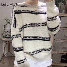 Lafarvie New Plus Size Knitted O-neck Wool Sweater Women Tops Autumn Winter Stripe Full Sleeve Thick Pullover Female Loose Warm недорого