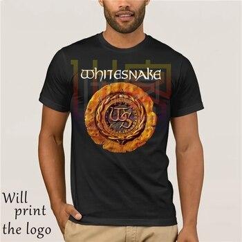 Camiseta Hombre Ropa envío gratis Serpiente Blanca Whitesnake Metal Rock Band Logo hombres negro Camiseta talla S a 3xl T camisa