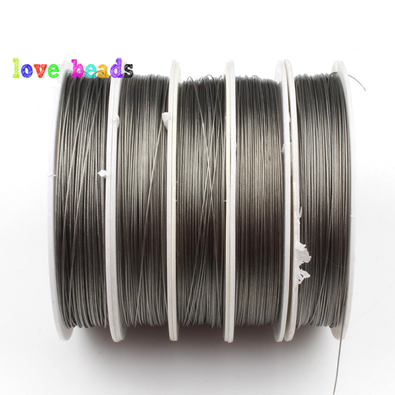 Steel Color Tone Beading Wire 0.3/0.38/0.45mm Coated Stainless Steel Cord Line Handmade DIY for Jewelry Making Finding Bracelet