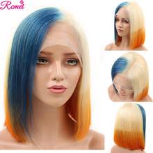 Perruque Bob Lace front wig brésilienne naturelle Remy | Cheveux courts, colorés, 13x4, bleu Orange, 613(China)