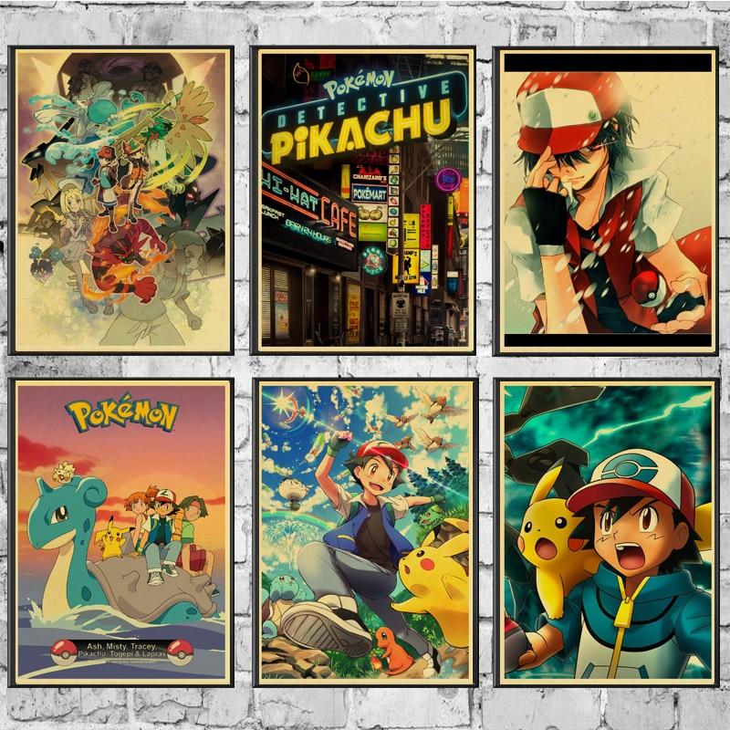 Hot Cartoon Pokemon Go Pikachu Retro Poster Painting Wall Poster Modern Art Poster For Home /Kids Room/Bar Decor