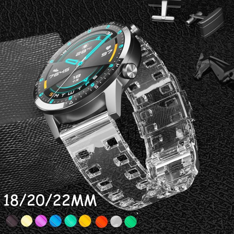 Correas de 18 20 22mm para la correa del reloj Samsung galaxy 42 46mm gear s3 reemplazo transparente de silicona para Huawei GT 2e honor magic