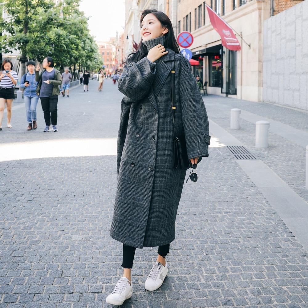 Abrigo de invierno Vintage europeo para mujer, abrigo largo a cuadros, ropa de mujer con doble botonadura, ropa holgada de gran tamaño para mujer - 5
