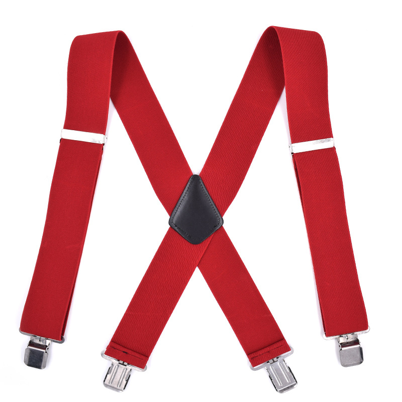 Cross Border Supply Of Goods Adult 5CM Red MEN'S Suspender Strap Elasticity 4 Clip Suit Pants Suspender Strap Clip Currently Ava
