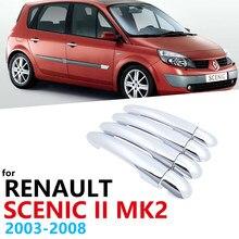Para renault scenic ii mk2 2 2003 2004 2005 2006 2007 2008 chrome exterior guarnição conjunto 4 maçaneta da porta capa acessórios do carro adesivos