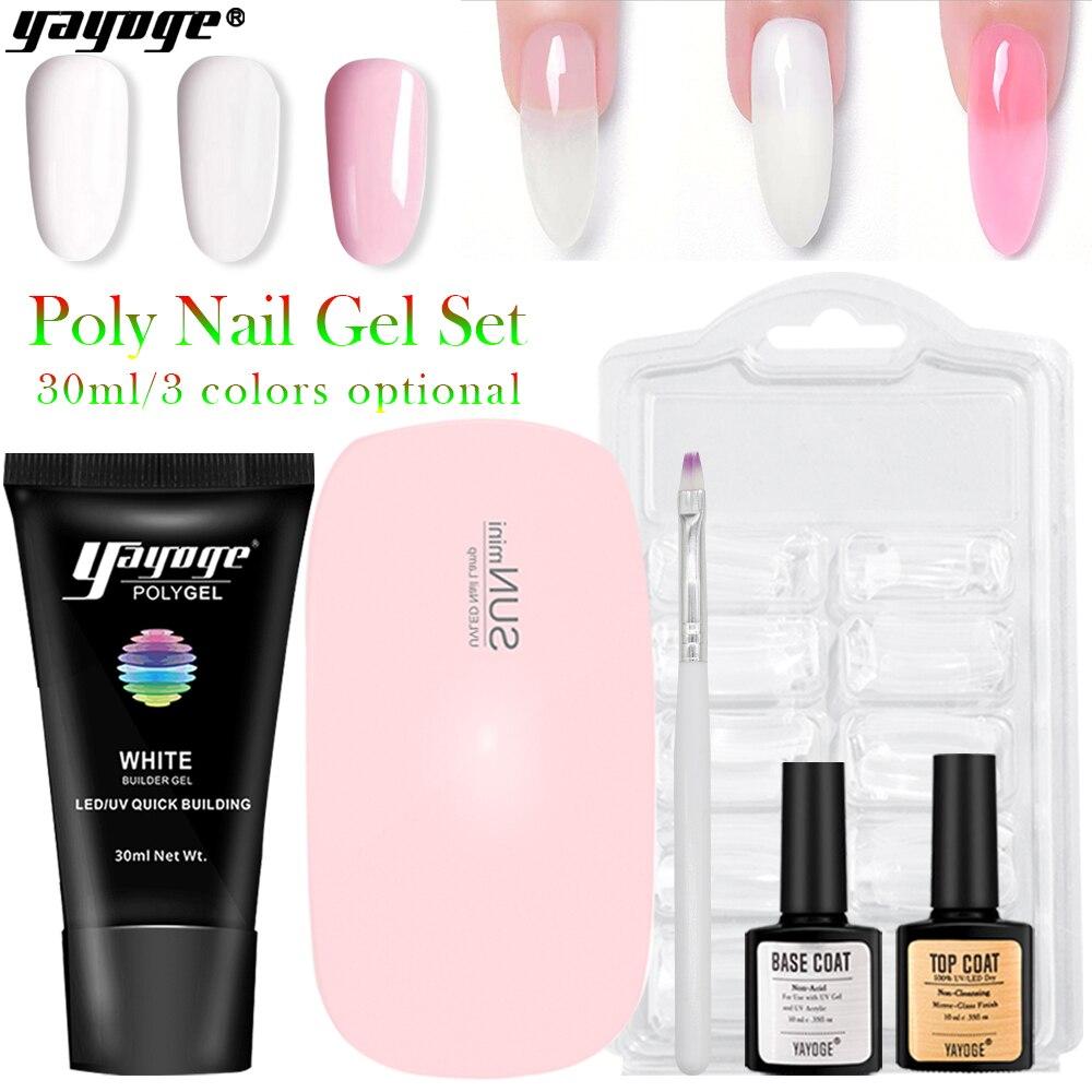 Yayoge полигель набор для ногтей с лампой строительный полигель набор гель для ногтей для наращивания Гель-лак набор УФ гель для ногтей маникюр