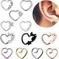 Набор колец для пирсинга в форме сердца из нержавеющей стали, серьги в форме сердца, ювелирное изделие, пирсинг кольцо для носа, набор сереже...