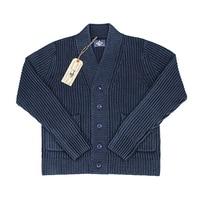 BOB DONG Vintage Workwear Robe Indigo Cotton Cardigan Men V Neck Sweater Blue